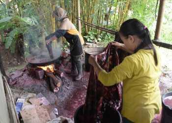 MEWARNAI BATIK : Perajin batik di KUB Batik Papringan melakukan pewarnaan batik. (37) (SM/Dian Aprilianingrum)