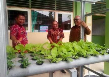 AMATI TANAMAN HIDROPONIK: Wakil Bupati Syamsudin mengamati sistem pertanian hidroponik yang dikembangkan di SMAN 1 Sigaluh. (SM/Castro Suwito-60)