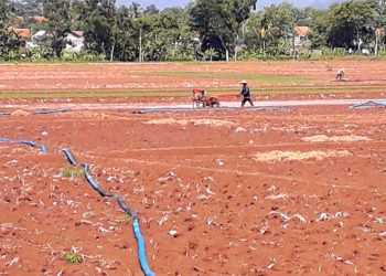 OLAH LAHAN : Sejumlah petani melakukan pengolahan lahan pertanian menggunakan mesin traktor di wilayah Desa Purwojati Kecamatan Purwojati, Minggu (29/12). (SM/ M Abdul Rohman-20)