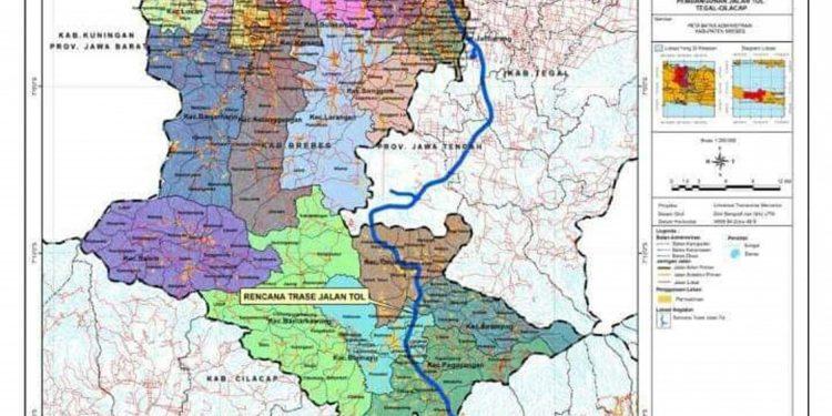 PETA TOL: Peta rencana rute tol Pejagan-Cilacap melintas Kabupaten Banyumas yang sudah diputuskan pemerintah pusat, Jumat (21/2) lalu.(SM/dok)