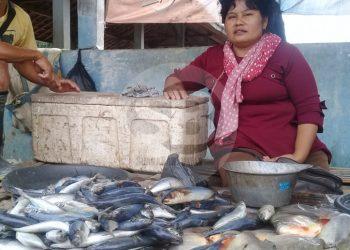 MENJUAL IKAN : Seorang pedagang menjual ikan air tawar di Pasar Desa Karangpucung, Kecamatan Karangpucung, Kabupaten  Cilacap, baru-baru ini.(SM/Teguh Hidayat Akbar-60)