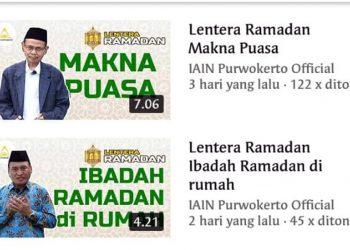 LENTERA RAMADAN : Gambar tangkapan layar dari program baru Lentera Ramadan yang tayang di laman Youtube IAIN Purwokerto Official.(SM/dok)