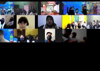 SECARA DARING:Sejumlah mahasiswa, termasuk mahasiswa asal Kamboja yang akan kuliah di SWU, Leapkheng Chantitrithyboth mengikuti kegiatan yang dilakukan secara daring (dalam jaringan). (SB/dok)