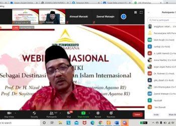 WEBINAR: Tangakapan layar pelaksanaan Webinar Masional yang digelar Pascasarjana IAIN Purwokerto, Rabu (11/11).