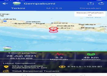 Gempa M 5.3 Guncang Gunungkidul, Tidak Berpotensi Tsunami